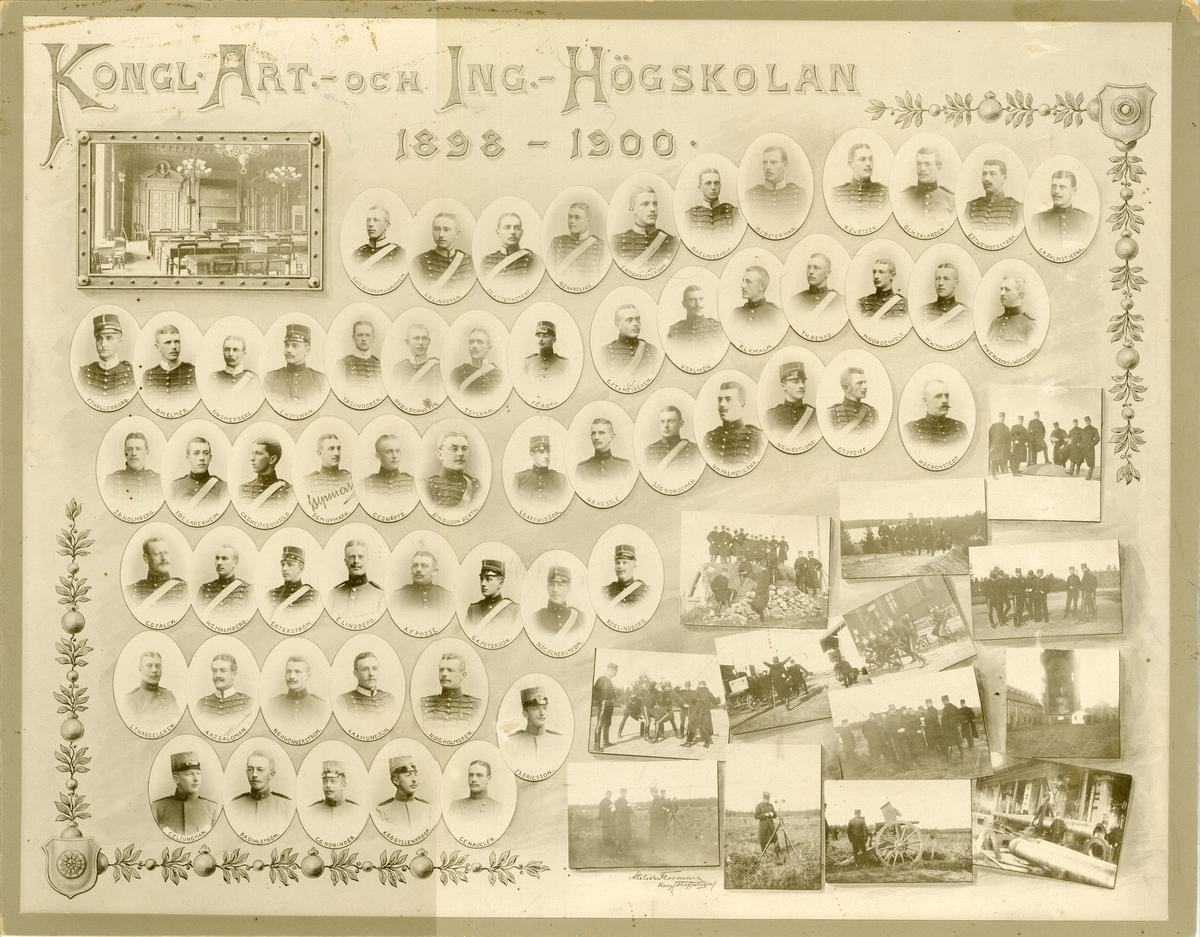Officerare vid Artilleri- och ingenjörhögskolan 1898-1900.