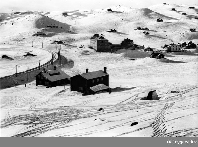 Tettstad, Ustaoset Hotell, vinter, jernbane, Bergensbanen, hytter, postkort