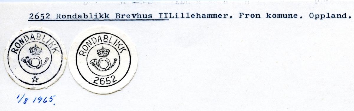 Stempelkatalog 2652 Rondablikk, Nord-Fron, Oppland