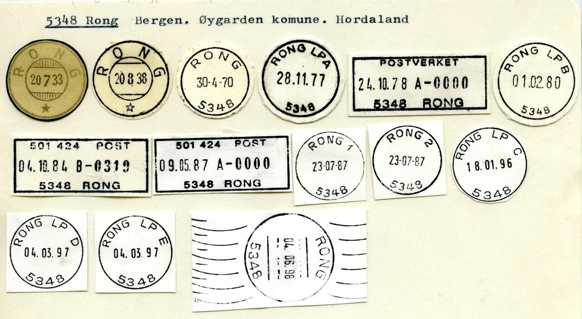 Stempelkatalog 5348 Rong, Øygarden, Hordaland