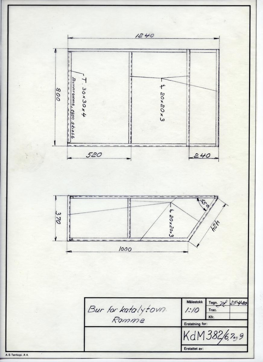 Håndtegnet arbeidstegning til ramme til bur for katalytovn. Utarbeidet på Krossen i 1980.Tegningsnummer KdM 382/1/6,7 og 9