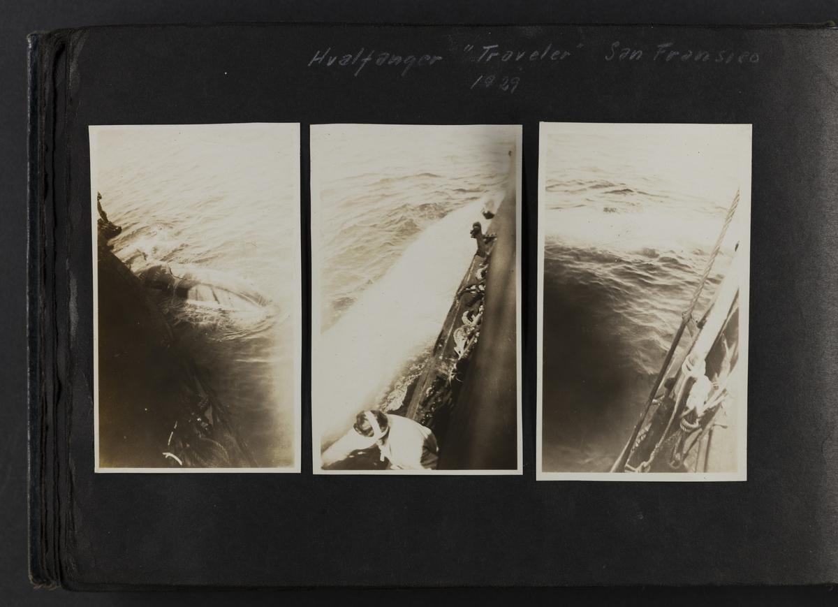 """Tre bilder av Hvalfanger """"Traveler"""" San Francisco 1929."""
