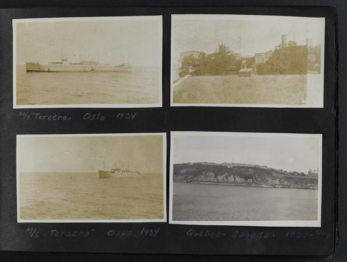 M/S Tercero, Oslo 1934 (øverst til venstre). M/S Tercero, Oslo 1934 (nede til venstre) Quebec, Canada, 1937 -20/7 (nede til høyre)