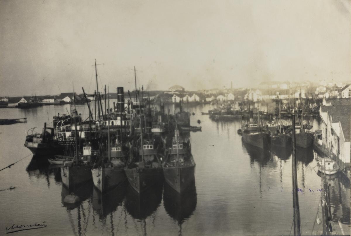 Risøen - Fiskehavnen ved Vestbjerg sett mot nord-vest ca.1930.