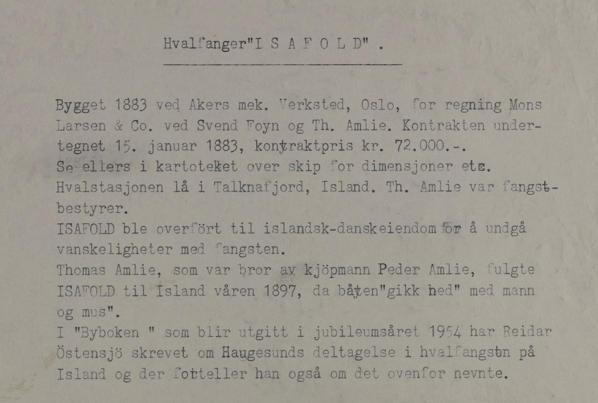 """Omegnen II - Hvalfanger """"Isafold"""""""