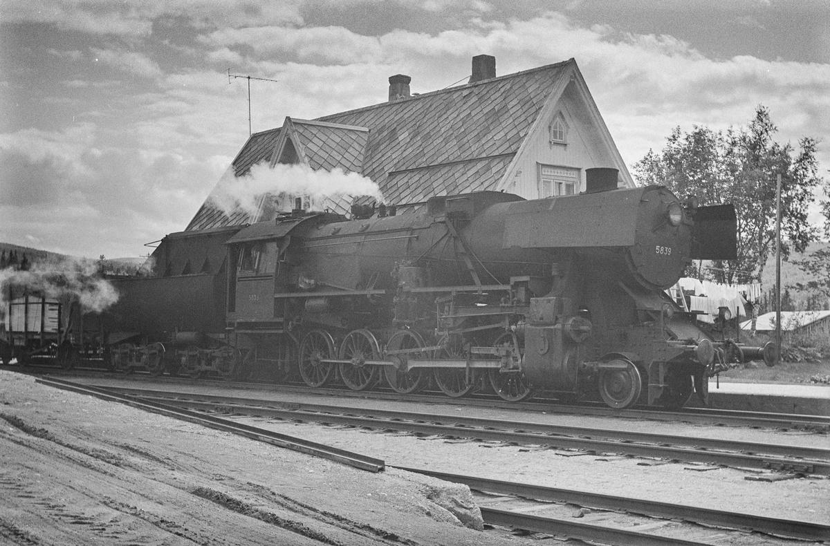 Underveisgodstog fra Hamar til Trondheim på Reitan stasjon. Toget trekkes av damplokomotiv type 63a nr. 5839.