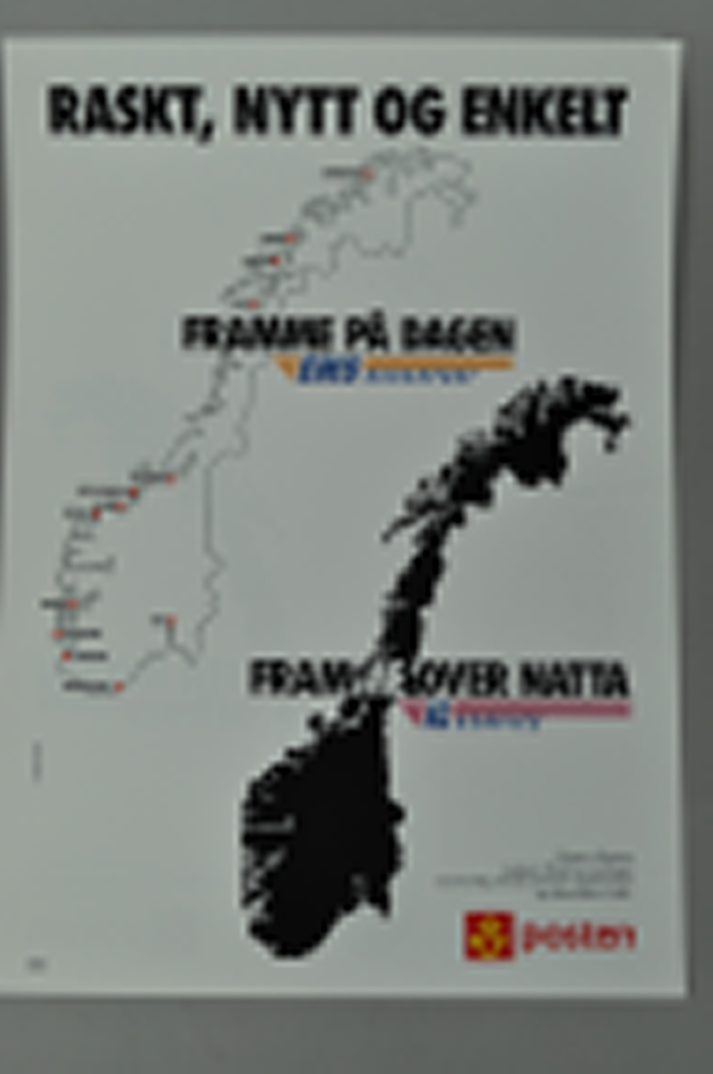 Rektanguær plakat med bilde av et norgeskart.Lys bakgrunn.