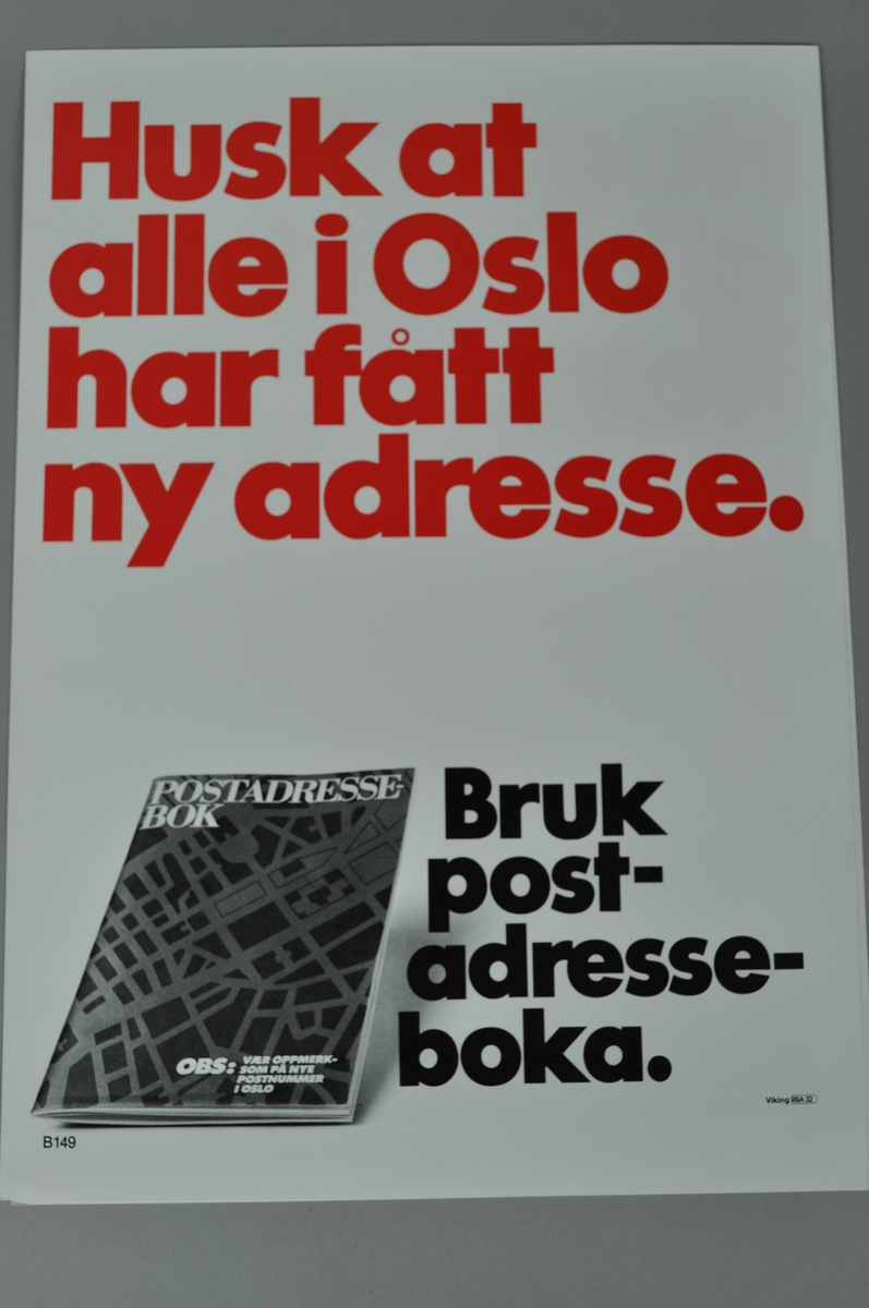Rektangulær plakat med tekst. Nye adresser i Oslo.