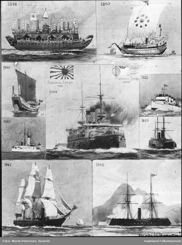 Skipsmotiver. Japanske krigsskip.