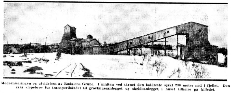 Faksimile fra Aftenposten 09.04.1932 av foto som viser daganleggene ved Rødalen gruve