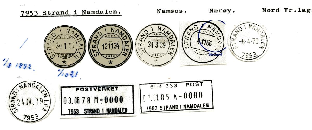 Stempelkatalog 7953 Strand i Namdalen, Namsos, Nærøy, Nord-Trøndelag