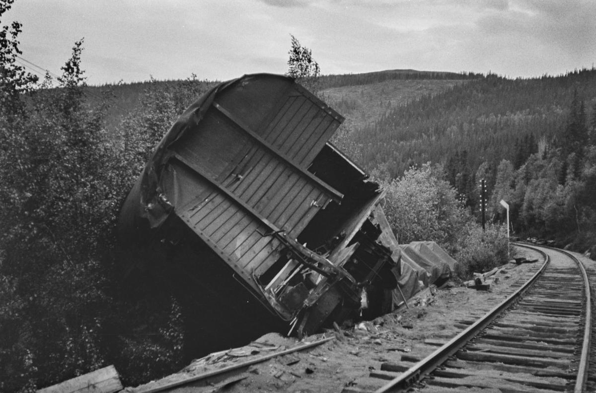 Avsporing mellom Stensli og Haltdalen stasjoner på Rørosbanen 16.06.1965. Et damplokomotiv type 63a nr. 5113 og to godsvogner sporet av. Damplokomotivet veltet og ble hugget på stedet.