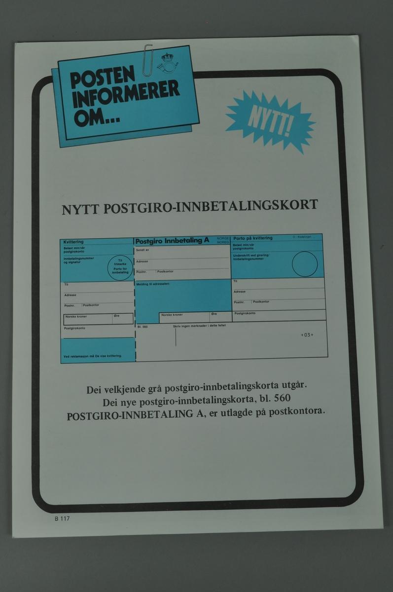 Informasjonsplakat om nytt postgiroinnbatalingskort. Bokmål og nynorsk