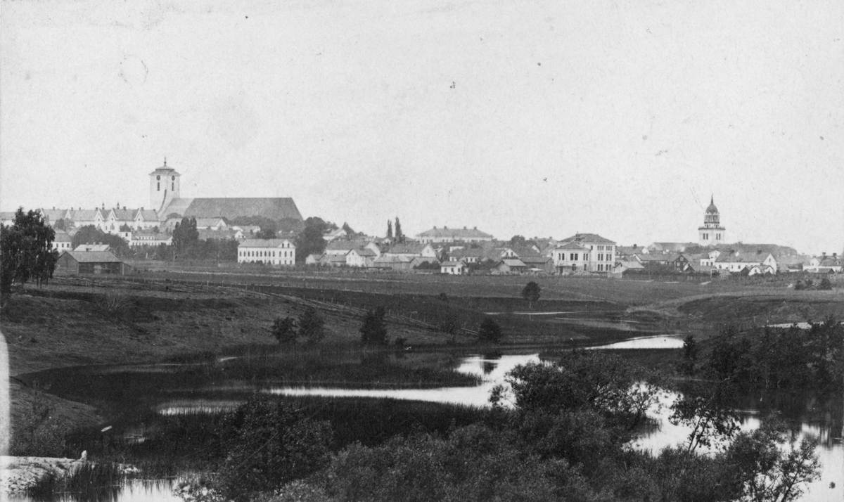 Suddig men unik vy mot Linköping. I stadssiluetten märks Linköpings domkyrka med sitt gamla torn, det så kallade Hårlemanska tornet som revs i början av 1880-talet. I förgrunden slingrar sig en Stångån grund och slingrande, ty ännu har inte Kinda kanal tillkommit. Bilden kan dateras till 1869 genom det pågående takarbetet på domkyrkan och uppförandet av seminariebyggnaden som kan anas något till höger.