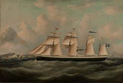 Fyrmastat skonertriggat ångfartyg