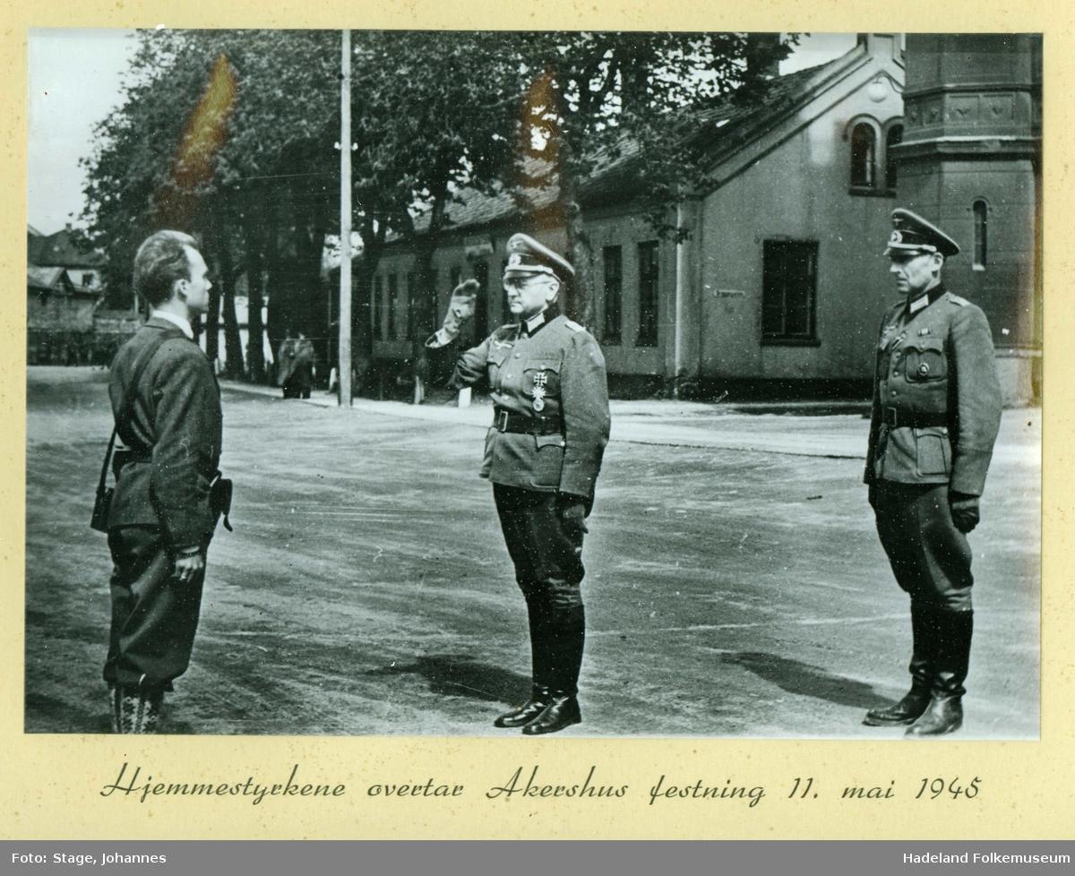 Akershus festning blir overtatt av de norske hjemmestyrkene 11. mai 1945