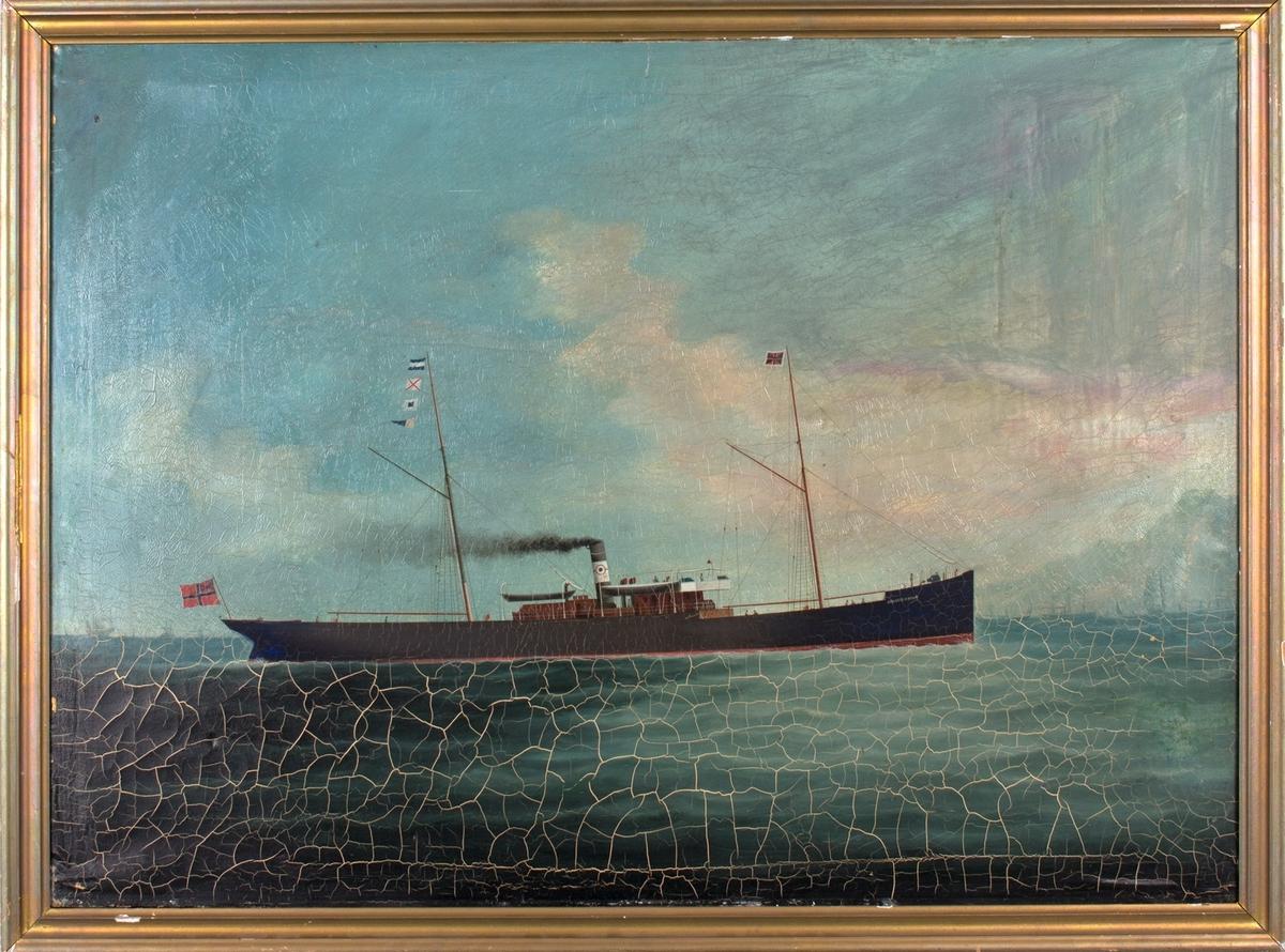 Skipsportrett av DS JOHANNES BRUN under fart, ser flere mindre seilfartøy i bakgrunn samt land. Fører norsk handelsflagg med svensk-norsk unionsmerke akter samt signalflagg.