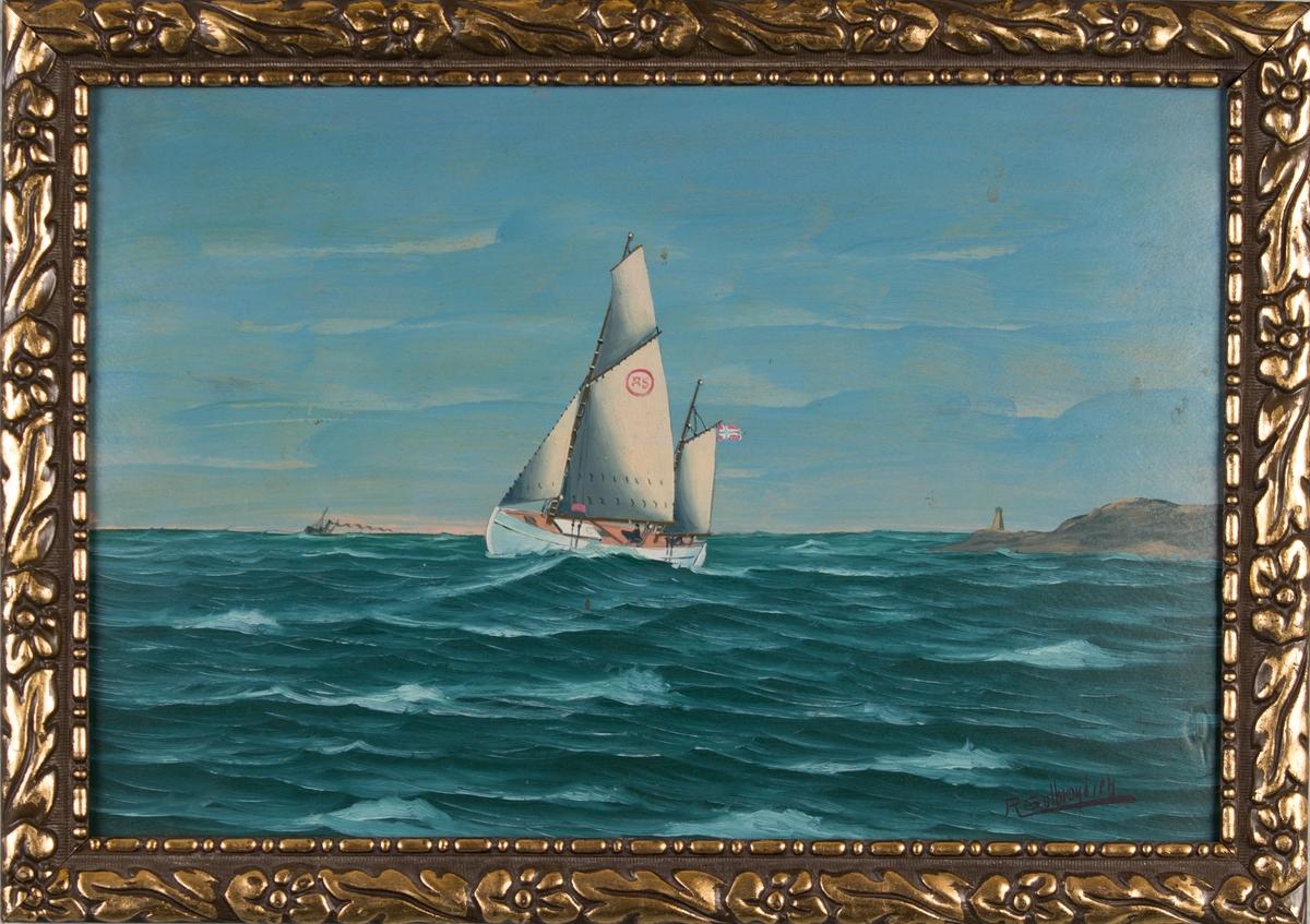 Skipsportrett av redningsskøyte av type COLIN ARCHER. Fører norsk flagg akter. Ser land med fyrtårn i bakgrunn samt ett damskip i det fjerne.