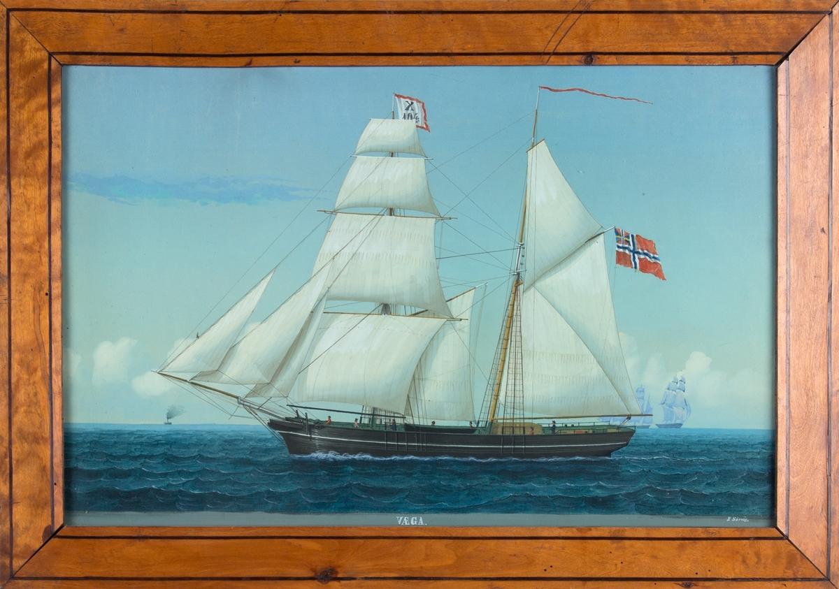 Skipsportrett av skonnertbrigg VÆGA under fulle seil med syv personer på dekk. Fører vimpel med med kjenningssignal (X104 eller X164) på fortoppen og norsk handelsflagg med svensk-norsk unionsmerke på mesangaffel. Ser andre seilskip i bakgrunn.