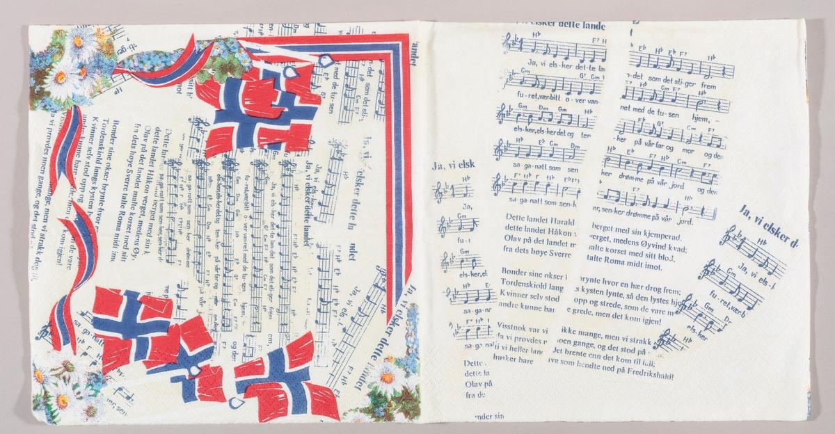 """Bruddstykker av sangtekst og noter til nasjonalsangen """"Ja, vi elsker dette landet"""". Norske flagg, hvite og blå blomster, bølgete bånd i rødt, hvitt og blått. En hjørnekant i blått, hvitt og rødt."""