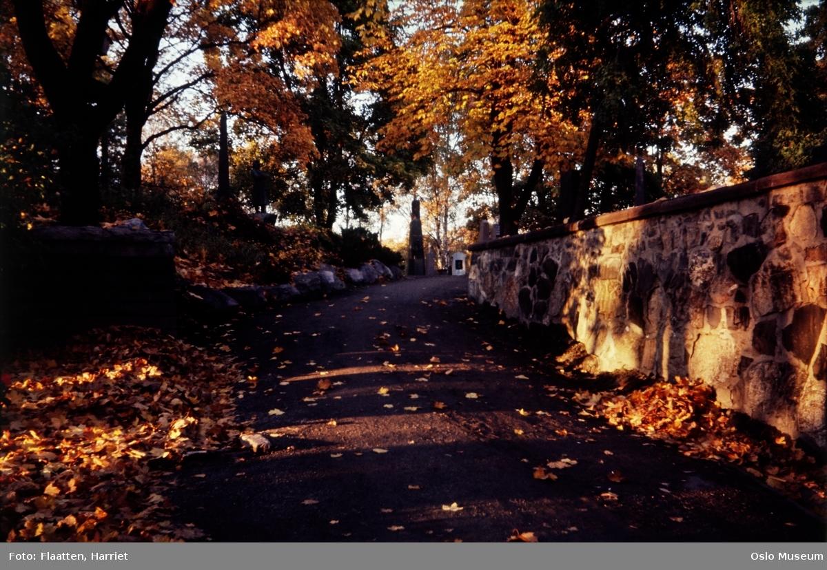 Vår Frelsers gravlund, gangvei, mur, gravstøtter