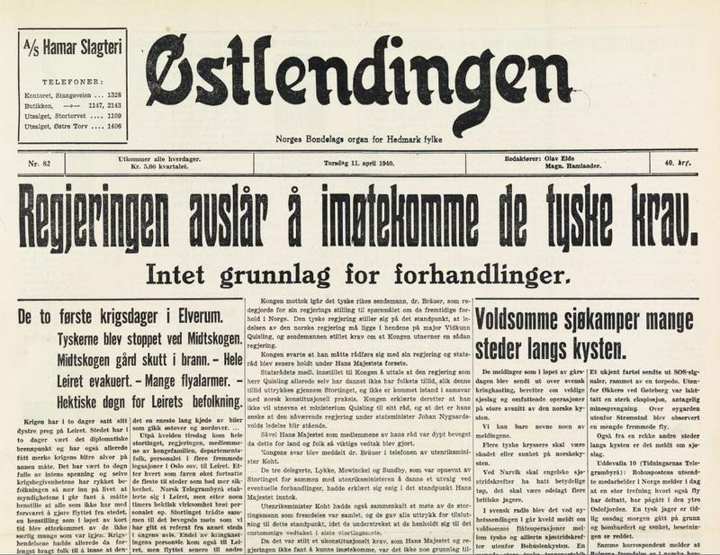 Avisen Østlendingen som blir utgitt få timer før bombene faller. Reprofotografering/Anno museum.