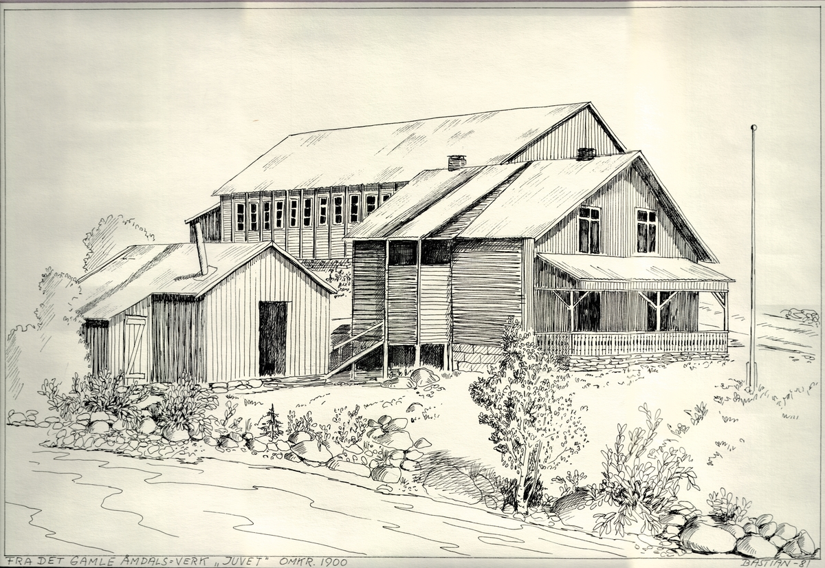 """""""JUVET"""" bygningar ved Åmdals Verk ca år 1900"""