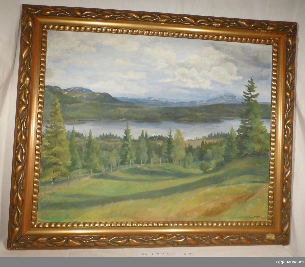 Maleriet viser et vann omgitt av fjell, skog, beiter, og jorder. Alt er grønt, så det er sannsynligvis på våren/sommeren. Skogen ser ut til å bestå av bartrær, noe blandingsskog. I enden av jordet nærmest i bildet går det ei rekke med det som sannsynligvis er gjerdestolper.