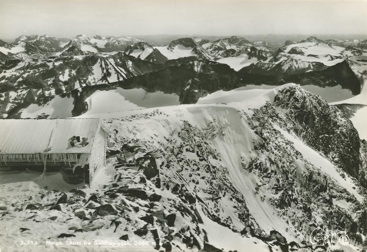 Postkort: Utsikt fra Galdhøpiggen, 2469 m.o.h.