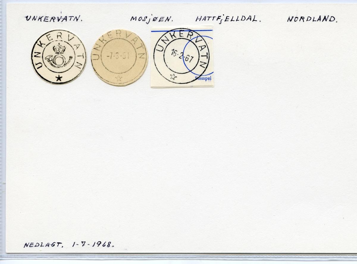Stempelkatalog Unkervatn, Mosjøen, Hattfjelldal, Nordland
