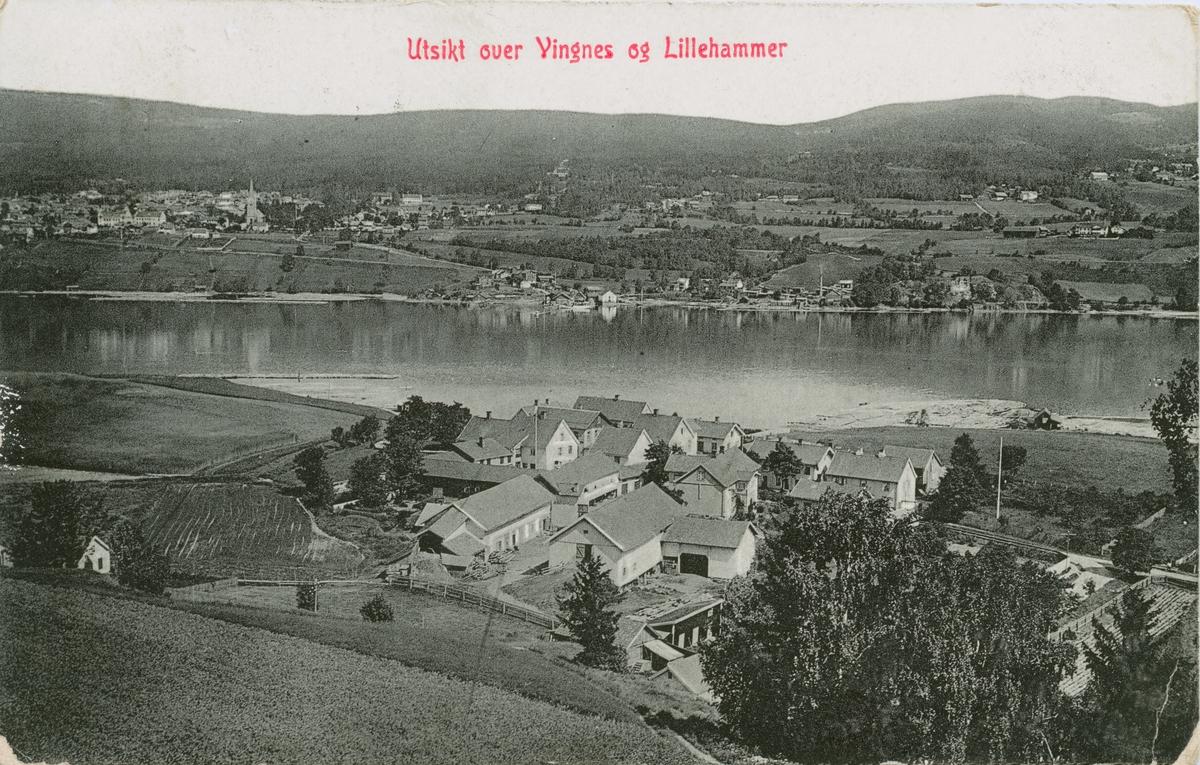 Repro: Utsikt over Vingnes og Lillehammer, bebyggelse, postkort.