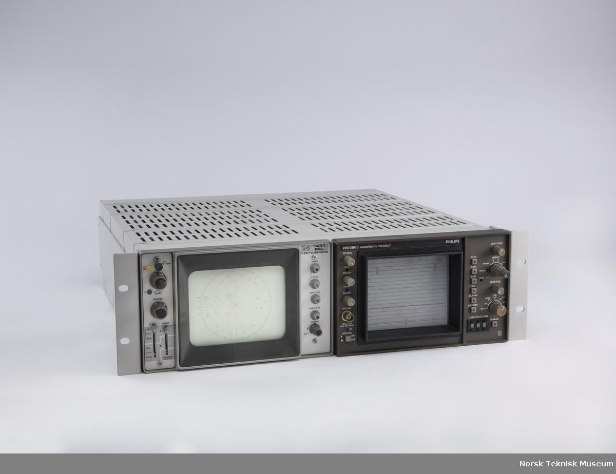 Philips monitor i racksystem med måleapparat.