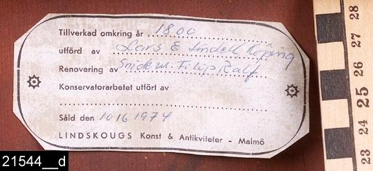 """Anmärkningar: Fällbord, Lars Eric Lindell, 1818-1843.  Kvadratisk bordsskiva. Profilsvarvat ben. Tre S-formade fötter. Baktill finns en etikettsignering som lyder """"LARS E. LINDELL, / Schatullmakare i Köping."""" (bild 21544__b). Bordet är rödmålat baktill (bild 21544__h). H:1220 Br:885 Dj:885  Bordet går att fälla upp, höjden blir då 1220 mm. I nedfällt tillstånd är det 750 mm högt (bild 21544__c). Bordsskivan är fanerad med alrot, blindträet är furu. Alroten är fernissad. Benet och fötterna är av ljust lövträ och är också svärtade.  Mälardalen och framför allt städerna Arboga, Köping, Kungsör och Eskilstuna var under 1700-talets senare hälft och början av 1800-talet centrum för tillverkning av alrotsfanerade möbler och föremål. Här tillverkades bl.a. fällbord, byråar och olika sorters askar. Föremålen såldes inte bara inom mälardalen utan även till Stockholm och till andra länder. Det främsta namnet inom alrotsföremålsproduktionen är Jacob Sjölin (1737-1785). Alroten togs inte från alens rötter utan från stamansvällningar vid rötterna. I synnerhet vid Mälarens stränder har tillgången på detta sorts virke varit god. På slottet förvaras en kortkatalog, upprättad av f.d. antikvarie Carin Thorsén. Den upptar över 300 alrotsföremål tillhörande museer, privatpersoner etc.  Lars Eric Lindell (född?-1843), gick i lära hos sin äldre broder Anders Lindell (den senare levde mellan 1778-1829 och var snickarmästare i Köping 1804 till sin död) och blev snickarmästare i Köping 1818. Verksam till sin död.  Litteratur: Anette Glöde, Fanering med Alrot, Linköpings universitet/Carl Malmsten, 2001 Åke Nisbeth, Schatullmakare i Köping och Kungsör, Västmanlands fornminnesförenings årsskrift 1960 Torsten Sylvén, Mästarnas möbler : Stockholmsarbeten 1700-1850, Stockholm 1999 Birgit Wennerberg, Köpings snickarämbetes historia, Västmanlands fornminnesförenings årsskrift 1932  Tillstånd: En etikett på baksidan visar att bordet renoverats av en snickare Filip Ralf (bild 21544__d). Benet och fött"""