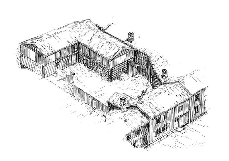 En typisk gård i bergstaden med våningshus med tilbygd eldhus, fjøs og gårdsstall, ferdasstall til skyssfolk og utedo. Illustrasjon: Sverre Ødegaard (Foto/Photo)
