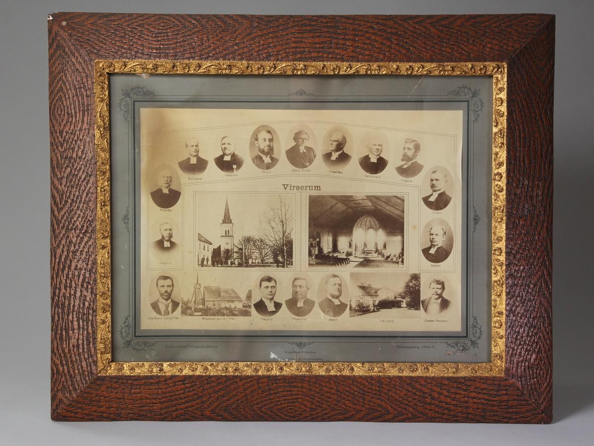 Porträtt av präster, skollärare och kantor samt prästgård och Virserums nya och gamla kyrka.