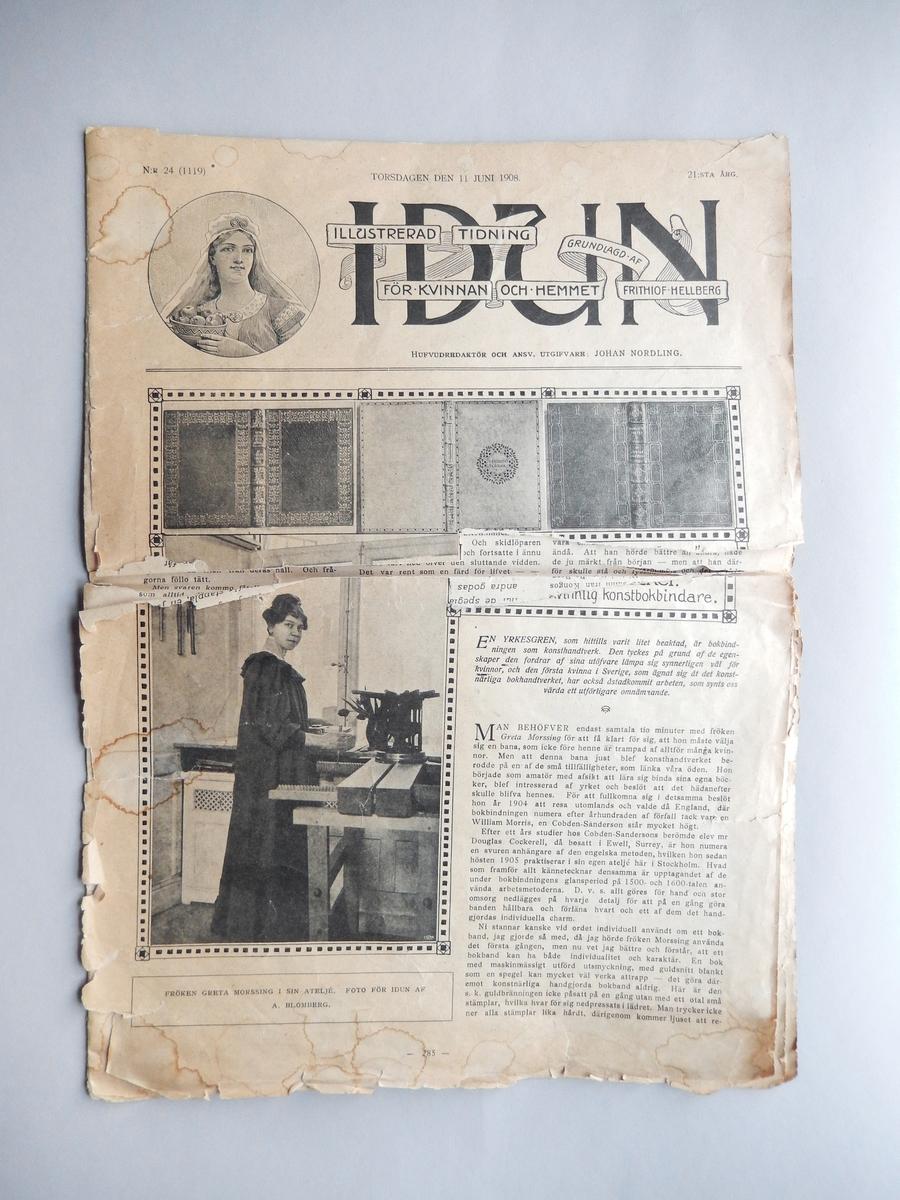 Tidningen Idun 11 juni 1908. Innehåller artiklar, annonser och illustrationer.