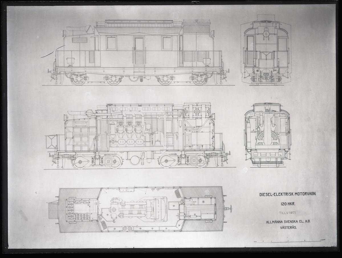 Ritning till lokomotiv för CFT, Tunisien. Tillverknings år: 1923.