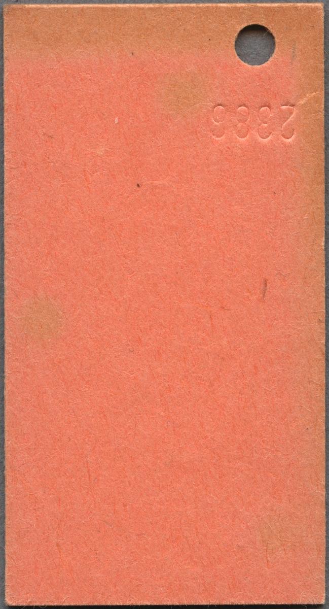"""Edmonsonsk biljett av brunrosa kartong med tryckt text i svart: """"SJ Persontåg Halv Enkel Göteborg C- ALINGSÅS 10.--  2"""". Biljetten har datumet 25.09.72 och G5 stämplat högst upp samt biljettnummer """"9206"""" i nederkant. Det finns ett hål efter biljettång. När biljettången användes blev också """"2386"""" präglat på baksidan intill hålen. Det finns en dublett med annat datum, biljettnummer och präglad text på baksidan."""