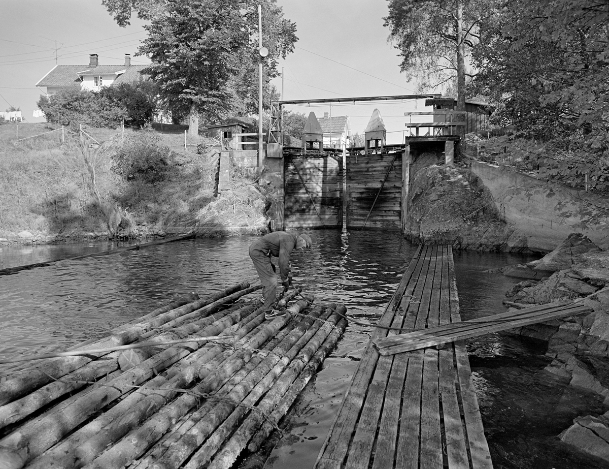 Fra utløpskanalen fra Strømsfoss sluse i Aremark kommune i Østfold.  Bildet er tatt i 1982, som var den siste sesongen med tømmerfløting i Haldenvassdraget.  Sentralt i bildet ser vi pensjonert slusemester Odd Johansen (1917-1993), som sto på den bakerste bunten i ei slusevending.  Han var i ferd med å knytte et tau til et av slusebindene, slik at han kunne fortøye ei nedenforliggende lenke av tømmerbunter i gangbanen langs slusekanalens østside.  I bakgrunnen ser vi at den nedre sluseporten i det ene slusekammeret ved Strømsfoss var i ferd med å lukkes.  På bakkekammen til venstre ligger slusemesterboligen.  Over slusekanalen ser vi brua som førte fylkesveg 124 over anlegget.  De siste tre åra ble det utelukkende fløtet ubarket massevirke i tre meters lengder i Haldenvassdraget.  Tømmeret ble utislått i bunter fra lastebiler ved Skulerud i Høland.  Over de store innsjøene ble fløtingsvirket buksert i digre slep ved hjelp av kraftige slepebåter, men ved slusestedene måtte det deles opp i kortere lenker, som fikk plass i slusekamrene.  Ved fløting av massevirke i tre meters lengder gikk det vanligvis fire bunter i hver slusevending, slik dette fotografiet viser.  En liten historikk om tømmerfløting og kanaliseringsarbeid i Haldenvassdraget finnes under fanen «Opplysninger».