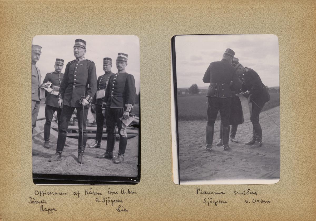 """Text i fotoalbum: """"Planerna smidas. Sjögreen, v. Arbin."""""""
