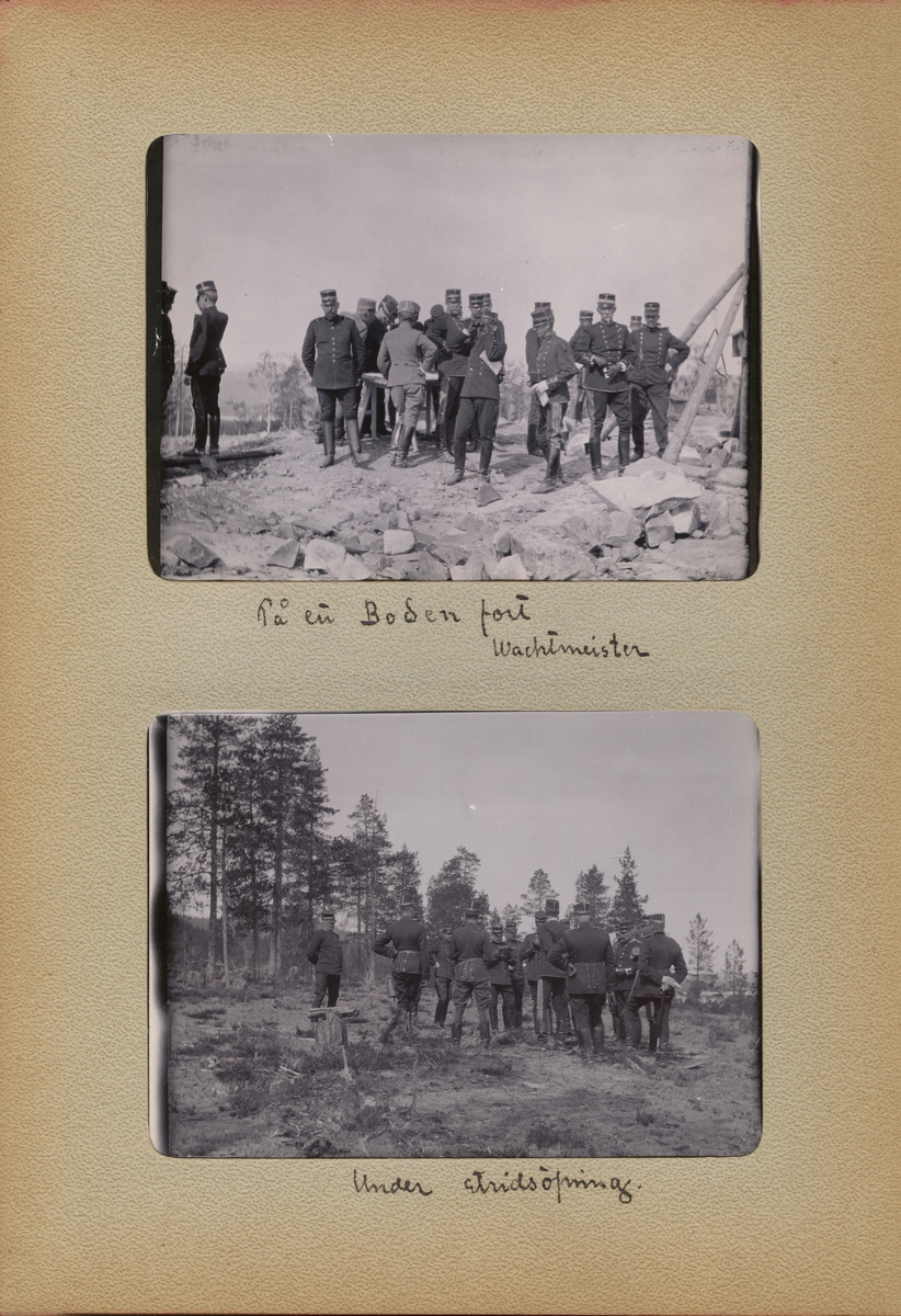 "Text i fotoalbum: ""På en Boden fort. Wachtmeister."""