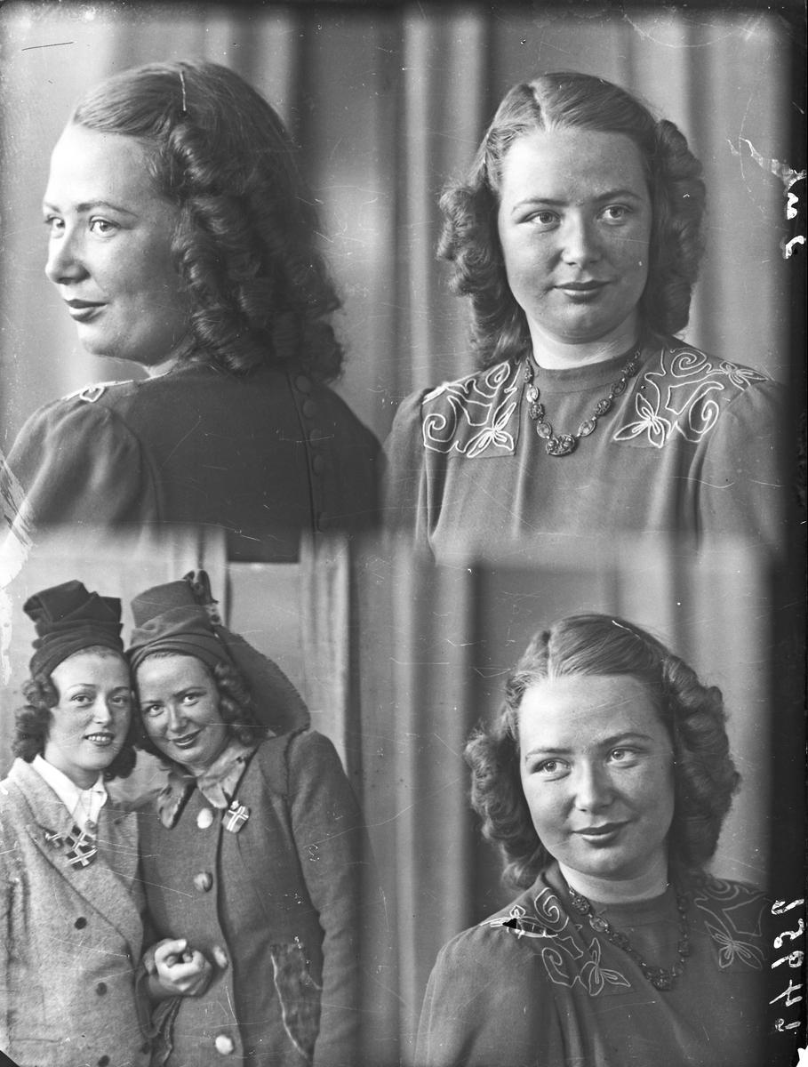 Portrett. To unge kvinner. Fire foto. Tre foto av en ung kvinne og et foto av begge to. Passbilder. Bestilt av Frk. Etel Knutsen