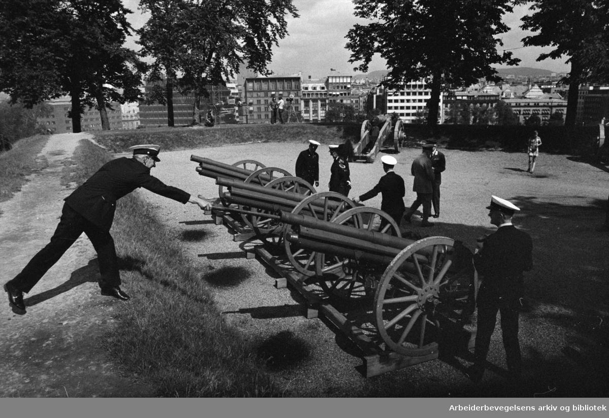 Akershus Festning. Nasjonalmonumentet. 21 skudd for arveprinsen. Juli 1973