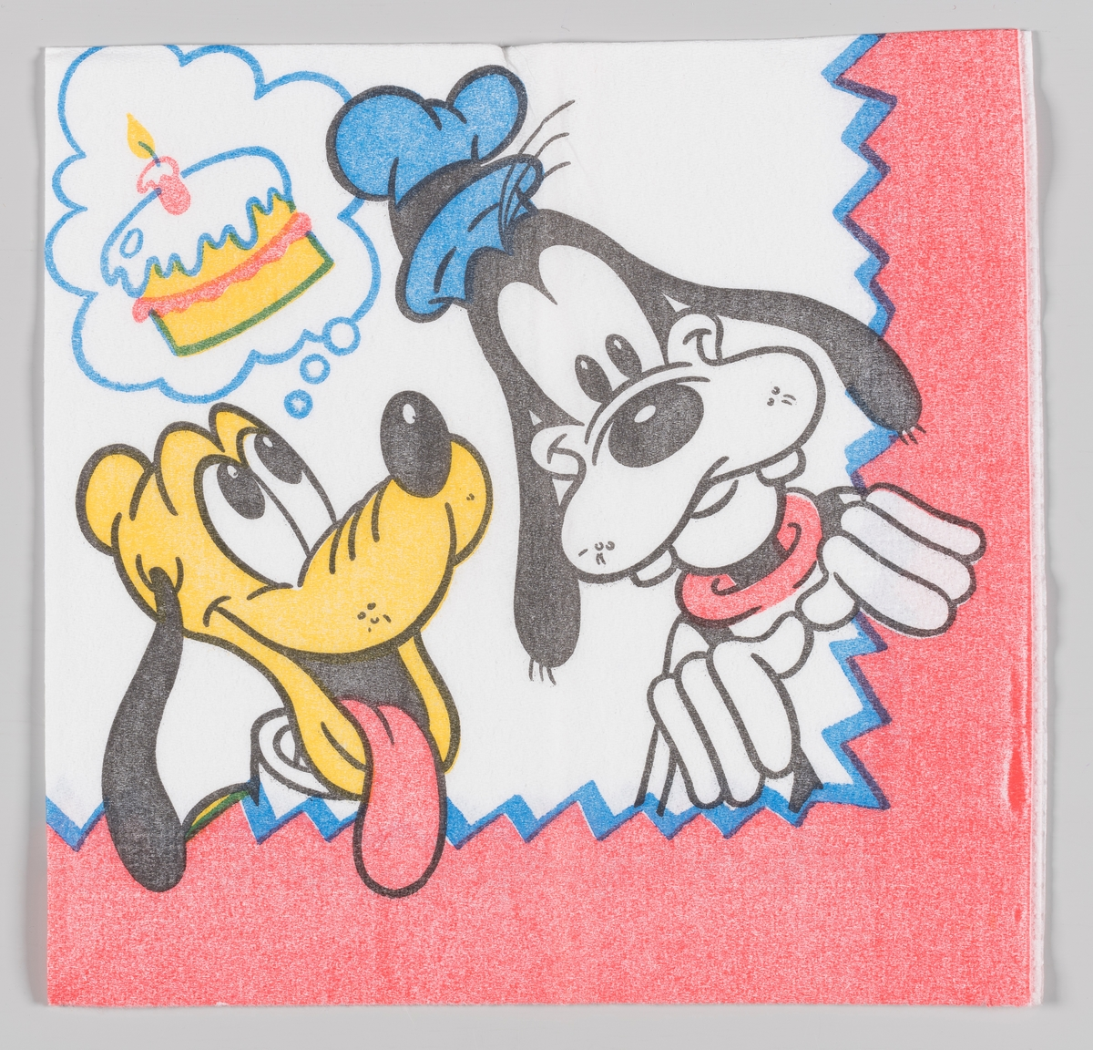 Langbein og og Pluto med en tankeboble, der det er en bursdagskake med ett lys
