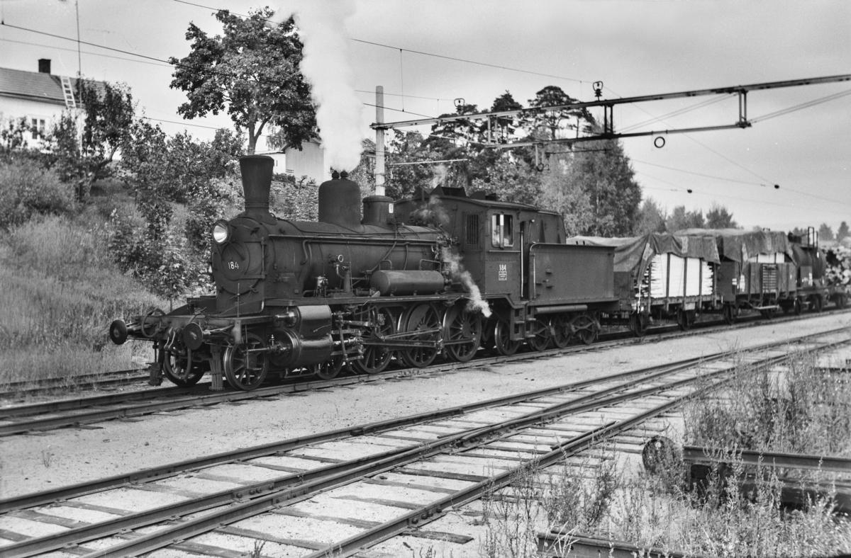 Underveisgodstog til Hamar, tog 5294, kjører inn på Hamar stasjon. Toget trekkes av damplokomotiv type 18c nr. 184.