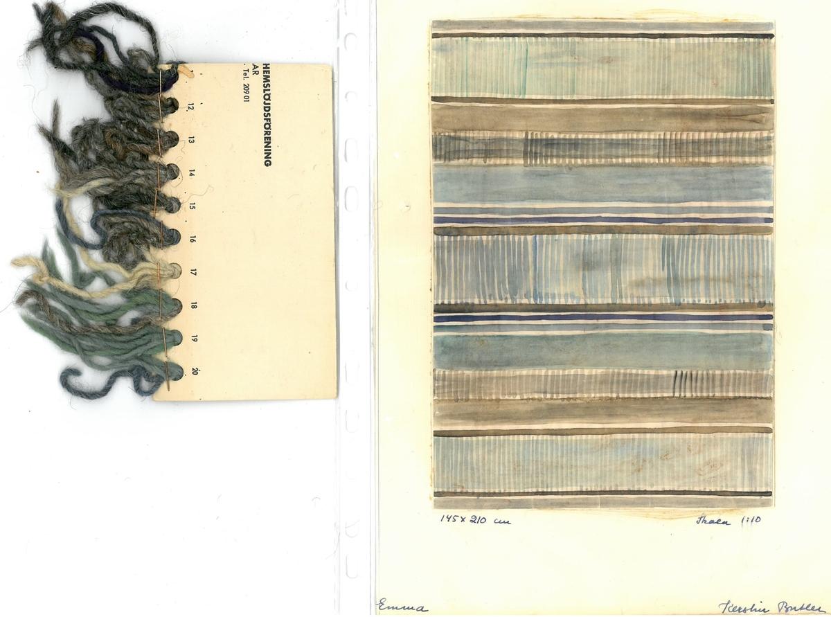 """Skisser till skyttlade mattor. Formgivare: Kerstin Butler  """"Emma"""" """"145x210cm"""""""