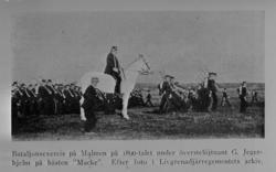 Bataljonsexercis på Malmen ca 1890-tal, från publicerat foto
