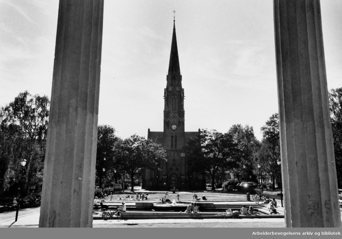Birkelunden sett fra musikkpaviljongen. Paulus kirke. 20. juli 1994