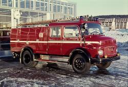 Brannbil ved Grorud brannstasjon.