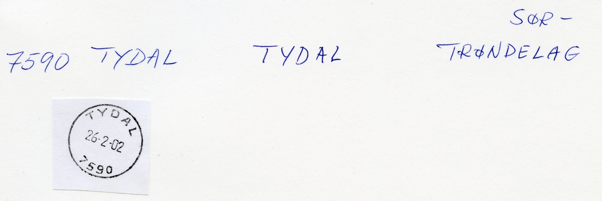 Stempelkatalog 7590 Tydal (Tydalen), Trondheim, Tydal, Sør-Trøndelag